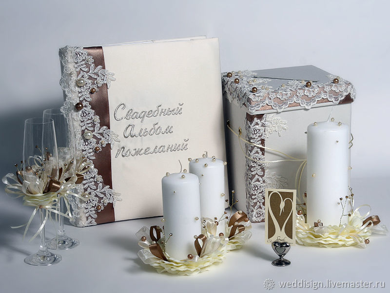Wedding box, wedding wish book and set the candle, Sets accessories, Moscow,  Фото №1