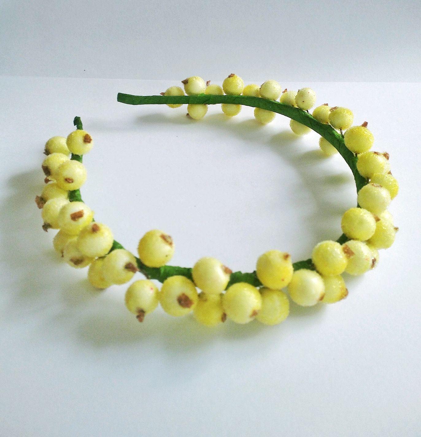 Веночек из сахарных ягод, стильное украшение на голову, ободок, Диадемы, Уварово,  Фото №1