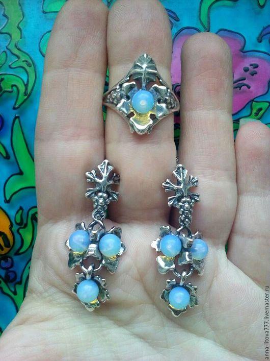 Комплекты украшений ручной работы. Ярмарка Мастеров - ручная работа. Купить 486 Комплект серебрение серьги и кольцо с камнями и жемчугом. Handmade.