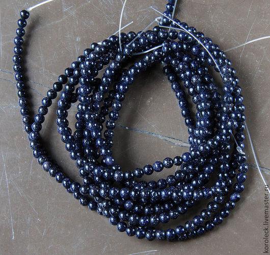 Для украшений ручной работы. Ярмарка Мастеров - ручная работа. Купить Авантюрин темно-синий, нить из шариков 4,5 мм. Handmade.