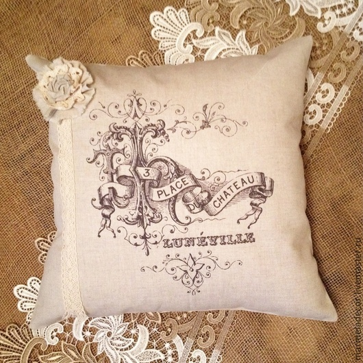 Текстиль, ковры ручной работы. Ярмарка Мастеров - ручная работа. Купить Подушка в винтажном стиле из чистого льна. Handmade. Подушка