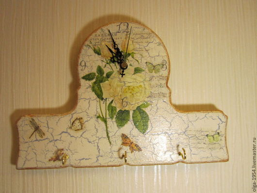 """Часы для дома ручной работы. Ярмарка Мастеров - ручная работа. Купить Часы-ключница """"Чайная роза"""". Handmade. Бежевый, любовь"""