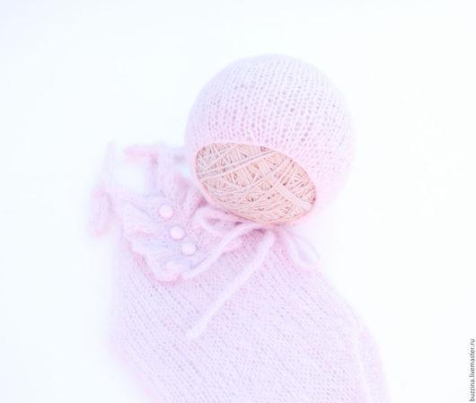 Для новорожденных, ручной работы. Ярмарка Мастеров - ручная работа. Купить Боди + шапочка для фотосессии новорожденной, комплект для фотосессии. Handmade.