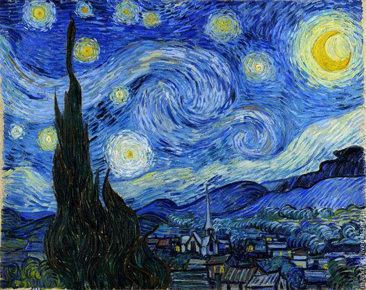 Вышивка ручной работы. Ярмарка Мастеров - ручная работа. Купить Алмазная мозаика Звездная ночь Ван Гог. Набор для творчества, 2размера. Handmade.