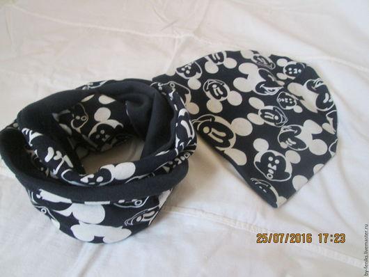 Шапки и шарфы ручной работы. Ярмарка Мастеров - ручная работа. Купить Шапочка и снуд Микки. Handmade. Чёрно-белый, снуд