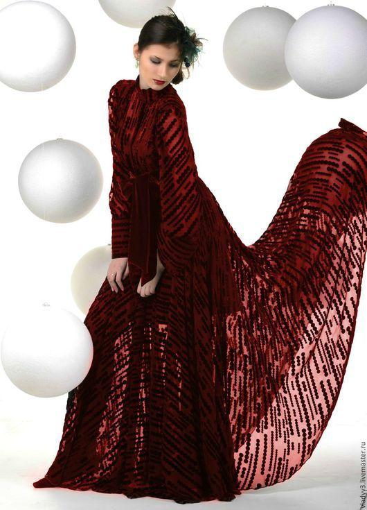 Платья ручной работы. Ярмарка Мастеров - ручная работа. Купить Бархатное платье . Вишневый бархат деворе. Handmade. Бордовый