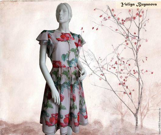 """Платья ручной работы. Ярмарка Мастеров - ручная работа. Купить Шелковое платье """"Нежность"""" из ткани Dolce Gabbana. Handmade. платье"""