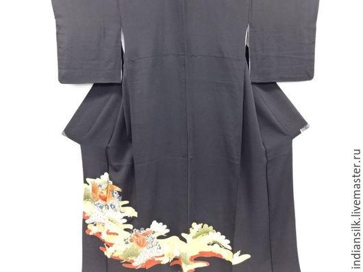 Одежда. Ярмарка Мастеров - ручная работа. Купить Винтажное кимоно из натурального шелка. Handmade. Черный, винтажный шелк, национальный костюм