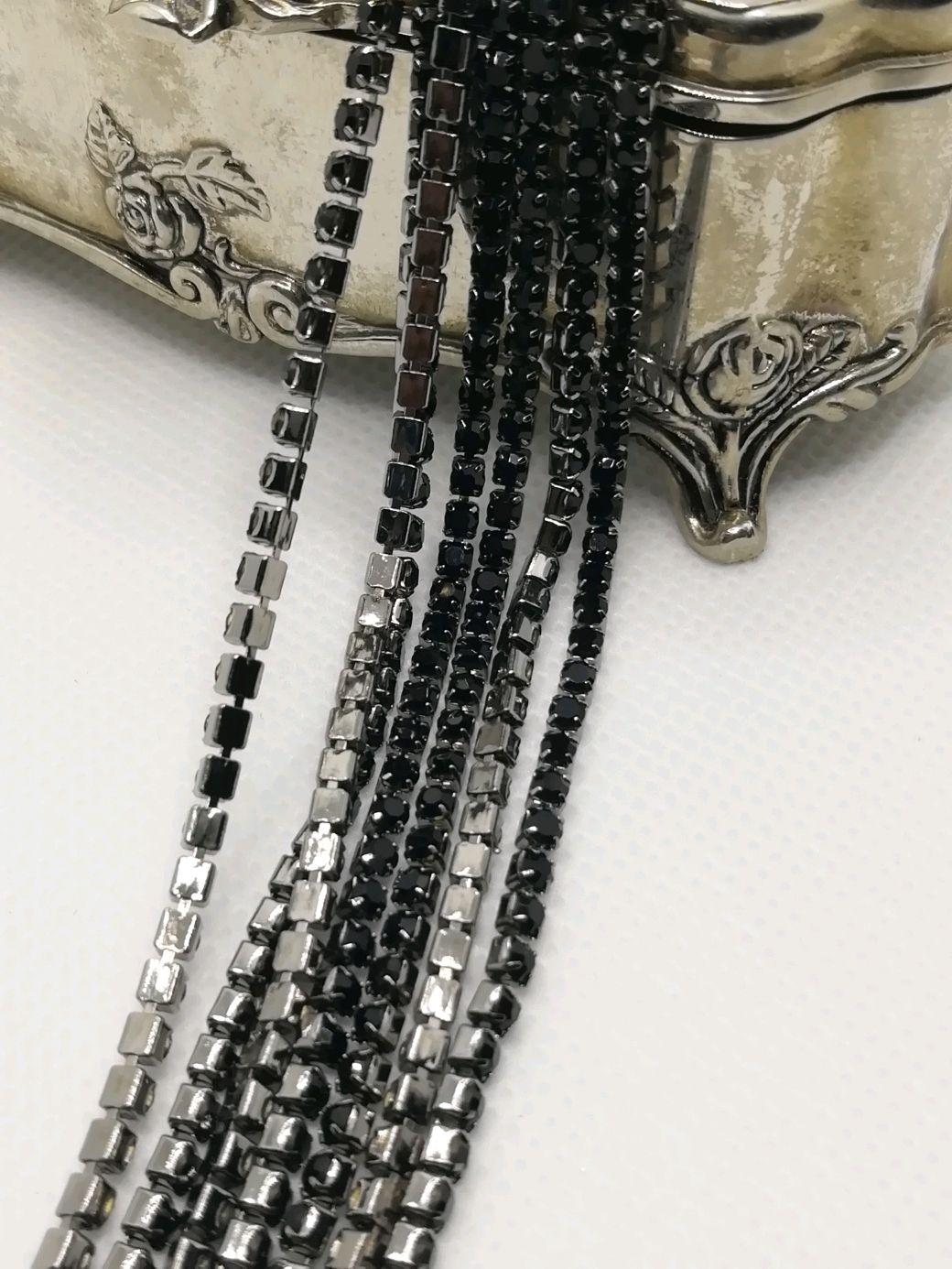 Стразовая лента Черный Джет, 3 мм, Цепочки, Санкт-Петербург,  Фото №1