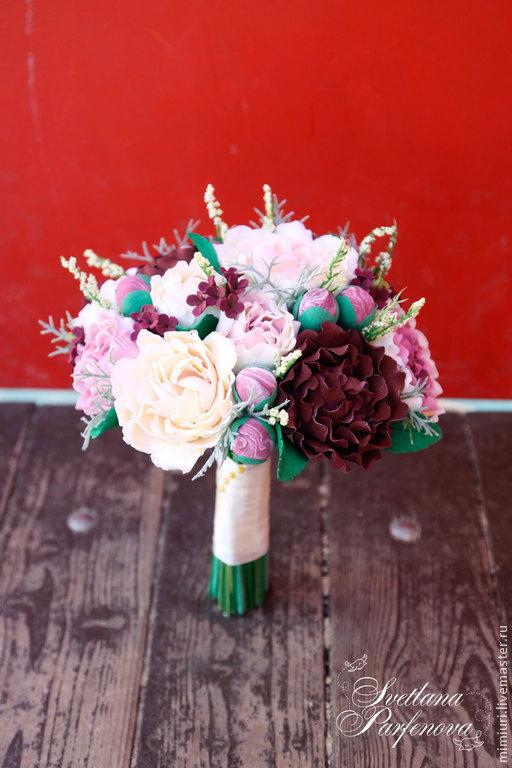 Свадебные цветы ручной работы. Ярмарка Мастеров - ручная работа. Купить Свадебный букет Бордо. Handmade. Разноцветный, бордовые пионы