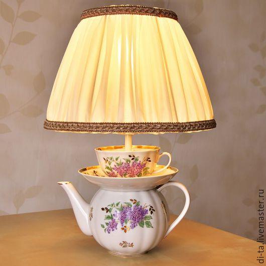 """Освещение ручной работы. Ярмарка Мастеров - ручная работа. Купить Светильник из чашек """"Сирень"""". Handmade. Комбинированный, сирень, фарфоровый чайник"""