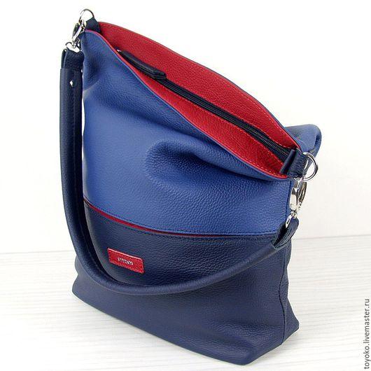 """Женские сумки ручной работы. Ярмарка Мастеров - ручная работа. Купить Кожаная авторская сумка """"DJ"""", синий цвет.. Handmade."""