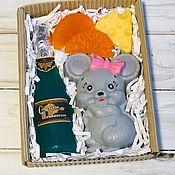 Мыло ручной работы. Ярмарка Мастеров - ручная работа Мыло: Подарочный набор мышка с шампанским. Handmade.
