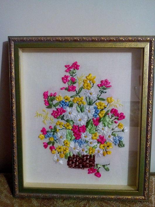 Картины цветов ручной работы. Ярмарка Мастеров - ручная работа. Купить букет цветов. Handmade. Комбинированный, розовая, желтая