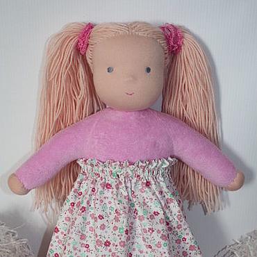 Куклы и игрушки ручной работы. Ярмарка Мастеров - ручная работа Куколка в пришивном комбинезоне розовая блондинка 32 см. Handmade.