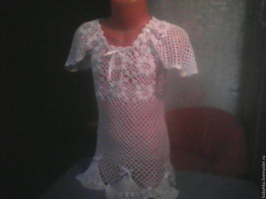 Одежда для девочек, ручной работы. Ярмарка Мастеров - ручная работа. Купить летняя туника. Handmade. Белый, хлопок мерсеризованный