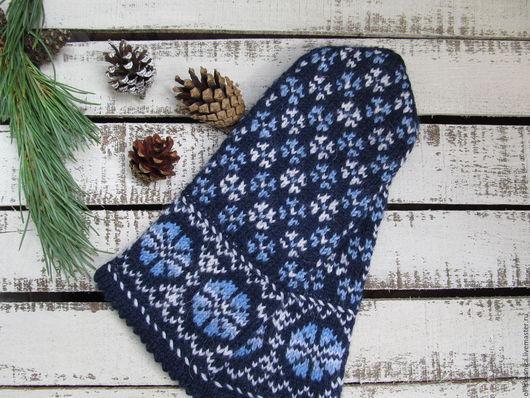 Варежки, митенки, перчатки ручной работы. Ярмарка Мастеров - ручная работа. Купить Варежки вязаные женские с орнаментом Лазоревые сине-голубые. Handmade.