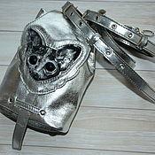 Сумки и аксессуары handmade. Livemaster - original item Small leather backpack-Silver-Sphinx cat. Handmade.