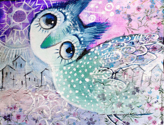 Фантазийные сюжеты ручной работы. Ярмарка Мастеров - ручная работа. Купить Мечта. Handmade. Синяя птица, картина для интерьера, картон