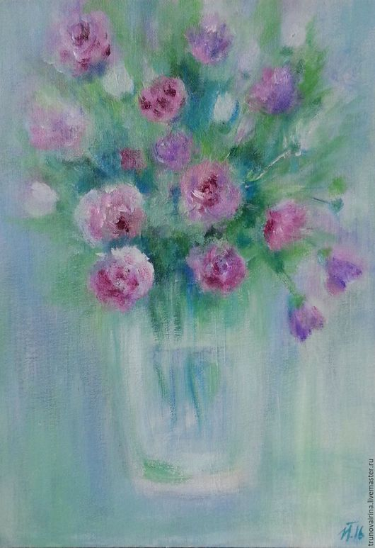 Картины цветов ручной работы. Ярмарка Мастеров - ручная работа. Купить Летняя. Handmade. Мятный, букет цветов, холст на картоне