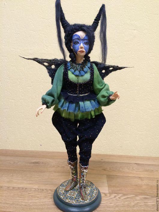 Коллекционные куклы ручной работы. Ярмарка Мастеров - ручная работа. Купить Бабочка - трансформация. Handmade. Тёмно-синий, кукла в подарок