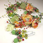 Украшения handmade. Livemaster - original item Pastoral. The jewelry set. Necklace, bracelet, earrings, fabric flowers.. Handmade.
