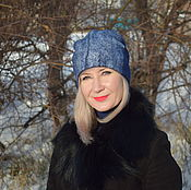 Аксессуары handmade. Livemaster - original item Cap beanie felted wool women`s warm blue felted hat. Handmade.