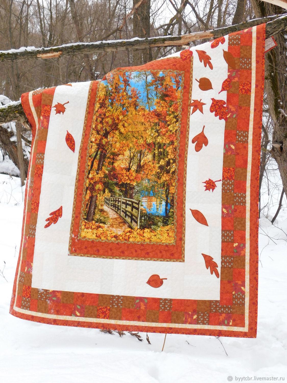 Лоскутное одеяло ЗЛАТЫЕ ДНИ лоскутное покрывало, Одеяла, Москва,  Фото №1
