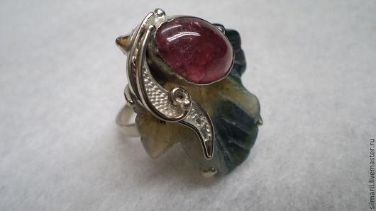 кольцо`Виноград`цена3000 натуральный природный турмалин на агатовом лепестке авторская неповторимая филигрань,повторить невозможно.Серебренников