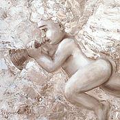 Картины и панно ручной работы. Ярмарка Мастеров - ручная работа Ангел играет на дудочке. Handmade.