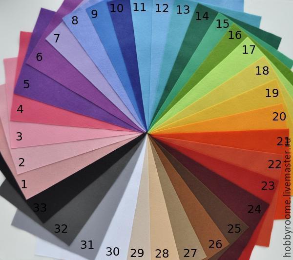Набор мягкого фетра 30 цветов , размер 20х30см, 1мм, Фетр, Москва,  Фото №1