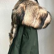 Одежда ручной работы. Ярмарка Мастеров - ручная работа Парка цвета хаки с енотом и кроликом. Handmade.