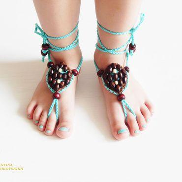 """Обувь ручной работы. Ярмарка Мастеров - ручная работа Украшение на ножки """" Лазурь """". Handmade."""