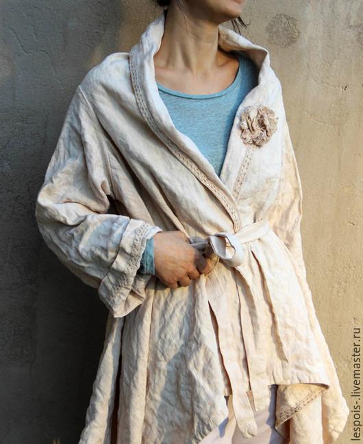 Пиджаки, жакеты ручной работы. Ярмарка Мастеров - ручная работа. Купить Льняной жакет. Handmade. Бежевый, жакет ручной работы