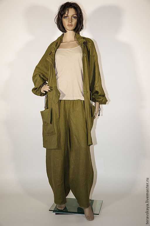 Верхняя одежда ручной работы. Ярмарка Мастеров - ручная работа. Купить Льняное пальто Хаки. Handmade. Плащ, зеленое пальто