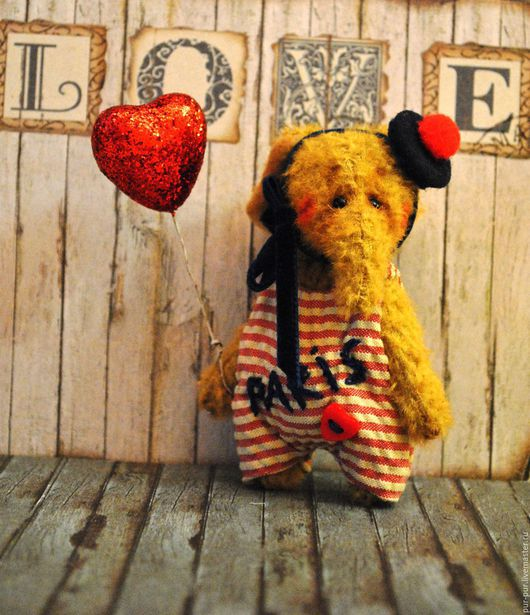 Мишки Тедди ручной работы. Ярмарка Мастеров - ручная работа. Купить Слоня  РеМи  (миниатюра - брошка). Handmade. Ярко-красный