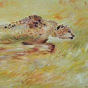"""картина маслом """"гепард""""60-25см"""