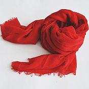 Аксессуары ручной работы. Ярмарка Мастеров - ручная работа Палантин однотонный. Красный шарф.. Handmade.