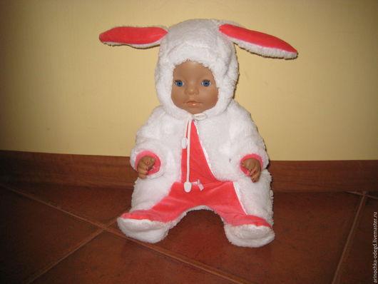 Одежда для кукол ручной работы. Ярмарка Мастеров - ручная работа. Купить Комбинезон-зайчик. Handmade. Белый, одежда для кукол