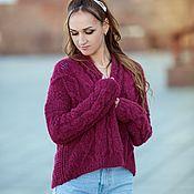 Одежда handmade. Livemaster - original item Knitted bomber jacket in cherry color. Handmade.