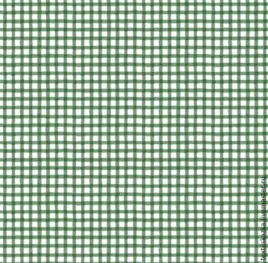 Шитье ручной работы. Ярмарка Мастеров - ручная работа. Купить Ткань хлопок клетка Россия клетка зеленая. Handmade. Болотный