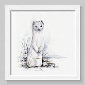 Картины и панно handmade. Livemaster - original item Stoat. White series. Handmade.