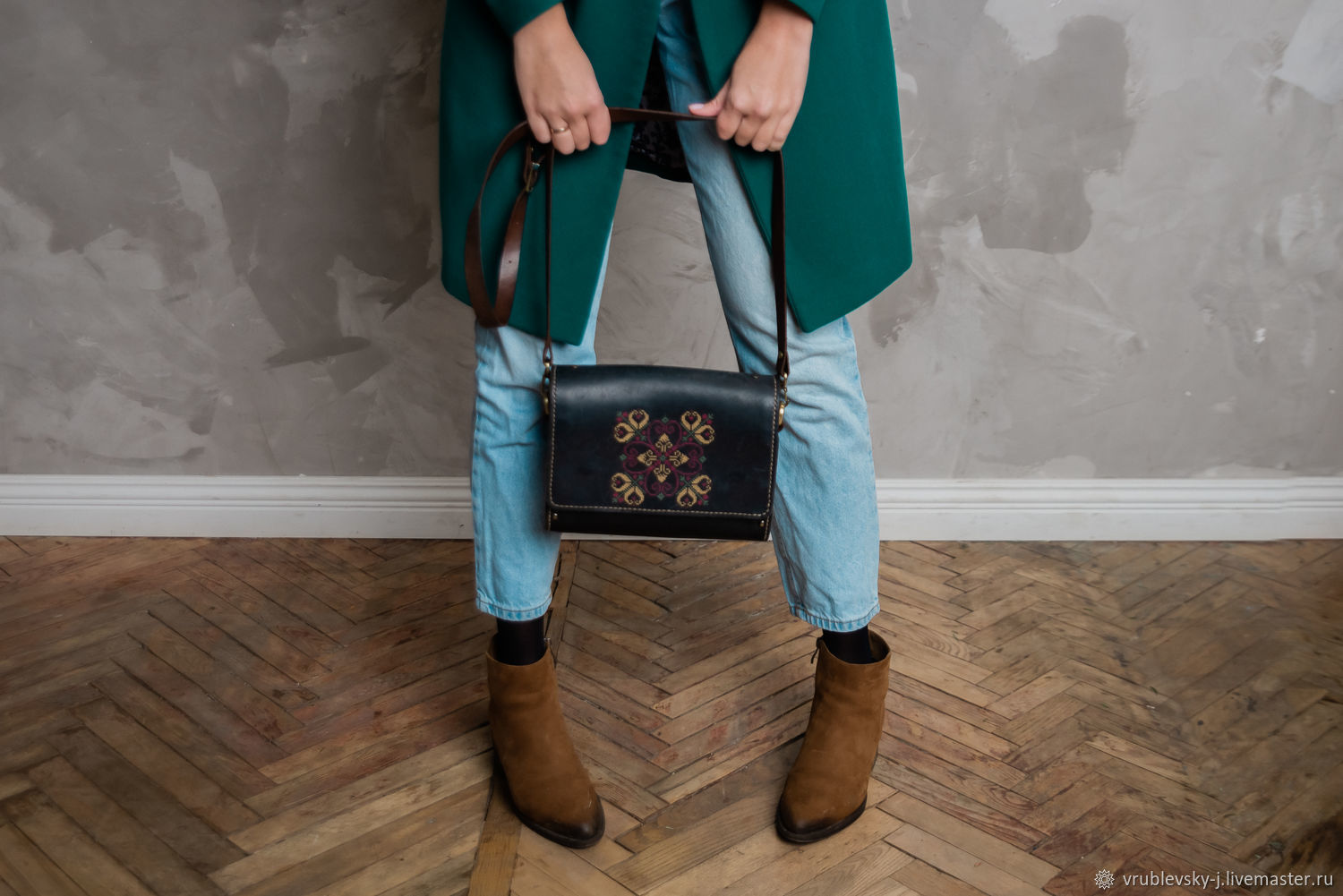Leather and wood bag with hand embroidery ETNINEN, Classic Bag, Moscow,  Фото №1