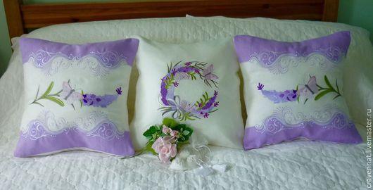 Текстиль, ковры ручной работы. Ярмарка Мастеров - ручная работа. Купить Лавандовые подушки-набор. Handmade. Подушка вышивка, вышивка