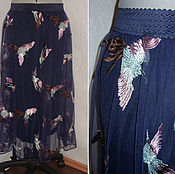 """Одежда ручной работы. Ярмарка Мастеров - ручная работа Юбка """"Птицы"""" с вышивкой в стиле Valentino. Handmade."""