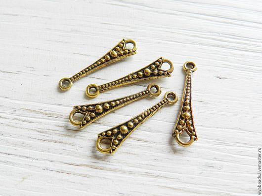 Коннектор металлический для украшений , размер  26х7x2 мм цвет античное золото,  материал - сплав металлов, не содержит свинца, никеля, кадмия (арт. 2226)