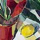 Цветы маслом на холсте Красный цветок в подарок Антуриум красный картина Натюрморт с цветами в интерьер Красный букет