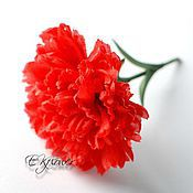 Цветы и флористика handmade. Livemaster - original item Silk flower scarlet Carnation. Silk flowers.. Handmade.