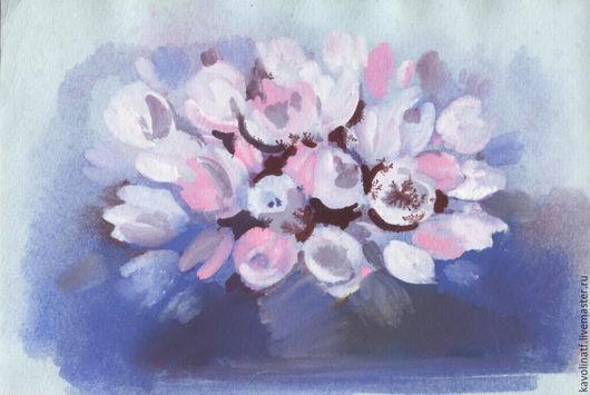 Картины цветов ручной работы. Ярмарка Мастеров - ручная работа. Купить Тюльпаны на голубом. Handmade. Розовый, тюльпаны, акварельная живопись