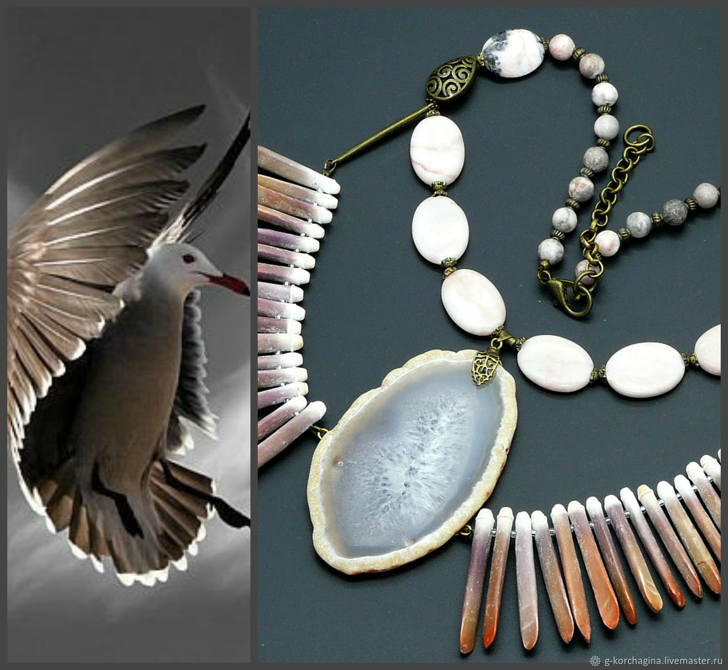 'Albatross' necklace with the eagle of the sea urchin and cut agate, Necklace, Voronezh,  Фото №1